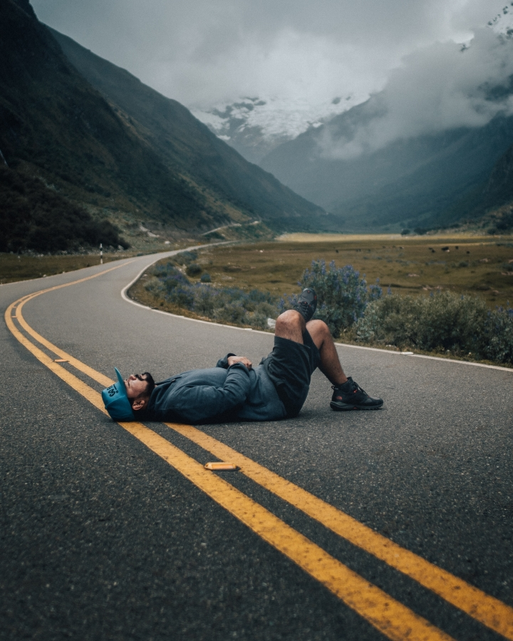 Resting on a road