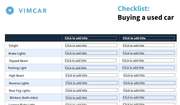 Checklist to buy a car