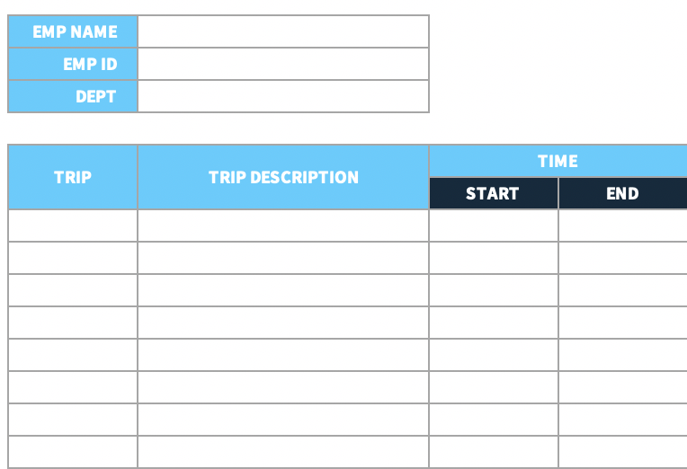 An example of a time sheet