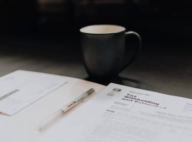 coffee mug and forms for business car insurance