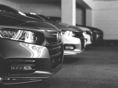new cars parked in company parking garage from salary sacrifice scheme