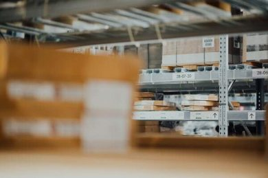 warehouse of packages for self employed delivery courier