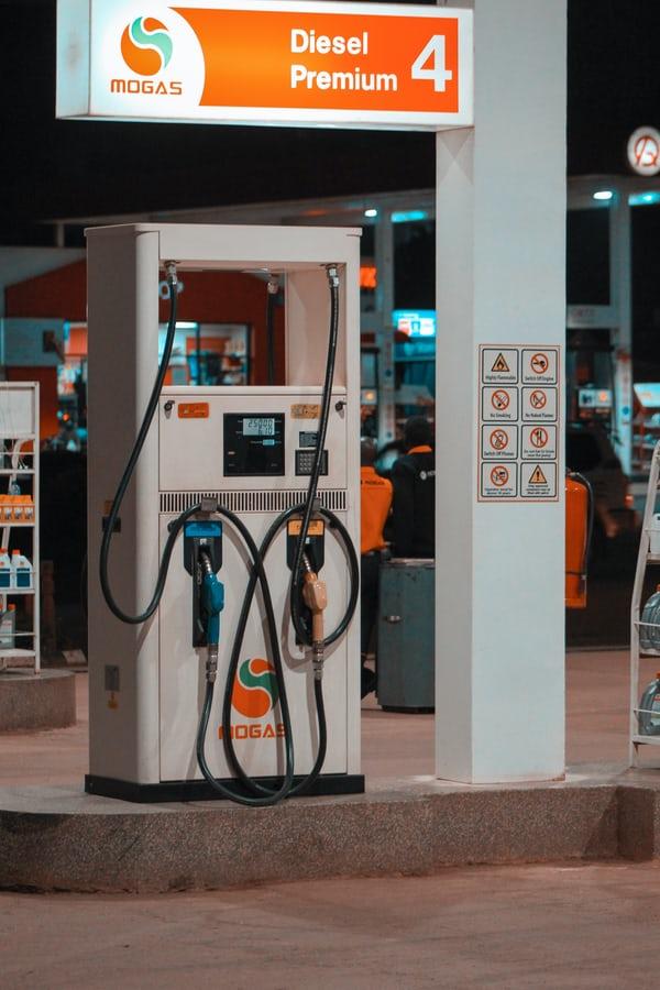 night time petrol station diesel premium