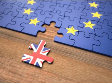 puzzle with EU and UK flag customs clearance after brexit
