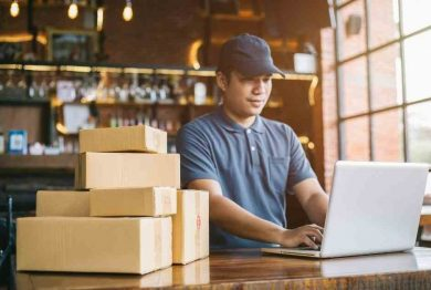 person with packages for delivery ecommerce