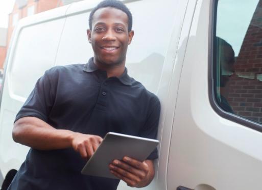 Company employee using fleet management solutions