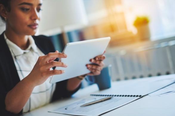 Female employee using fleet tracking solutions