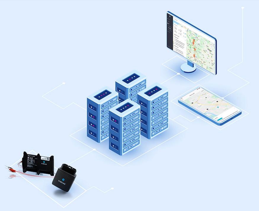 Diagram on how a fleet tracking software works
