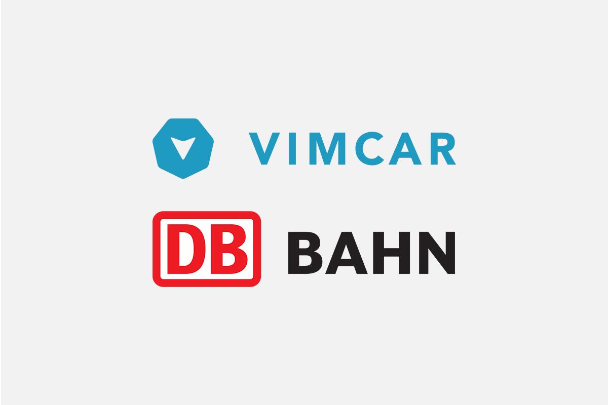 Die Logos der Vimcar GmbH und der Deutschen Bahn AG.