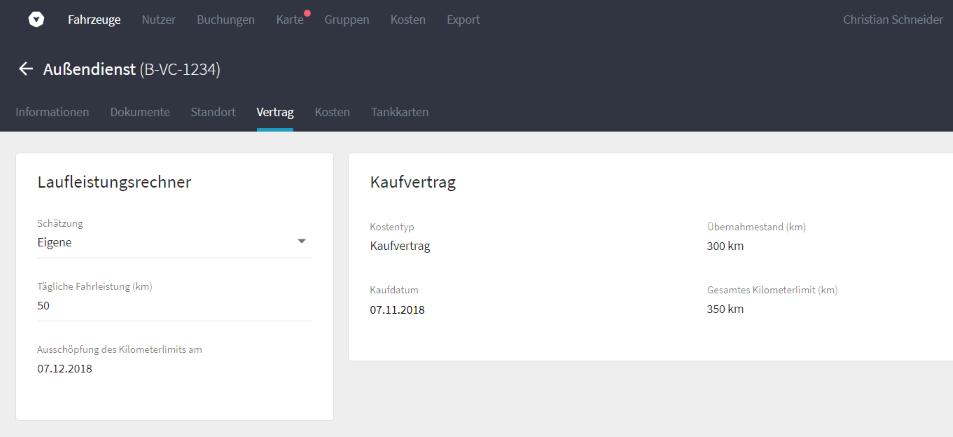 Screenshot aus Vimcar Fleet: Laufleistungsrechner für Kaufverträge