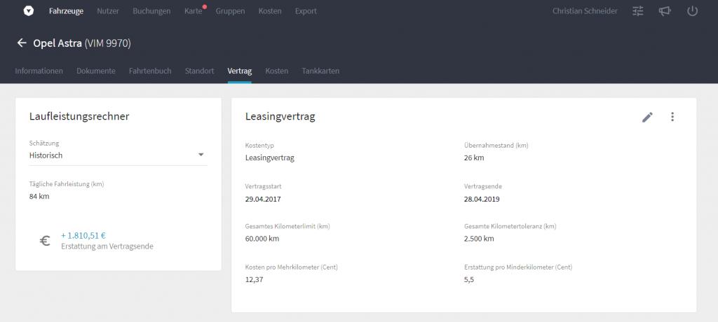 Screenshot aus Vimcar Fleet: Laufleistungsrechner für Leasingverträge