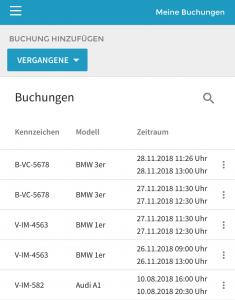 Screenshot aus der Vimcar Fahrtenbuch App