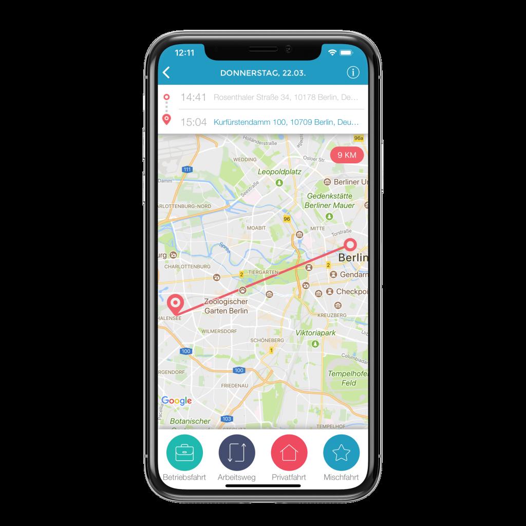 In App Karte mit gefahrener Strecke