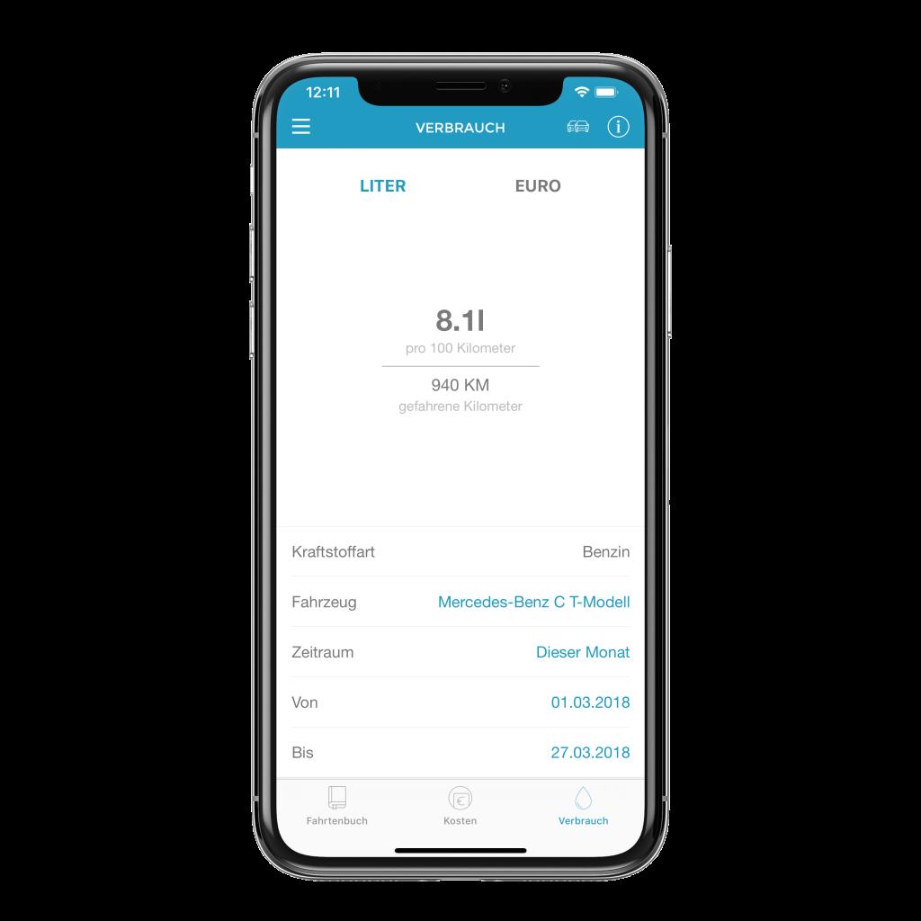 Verbrauch wird In App angezeigt