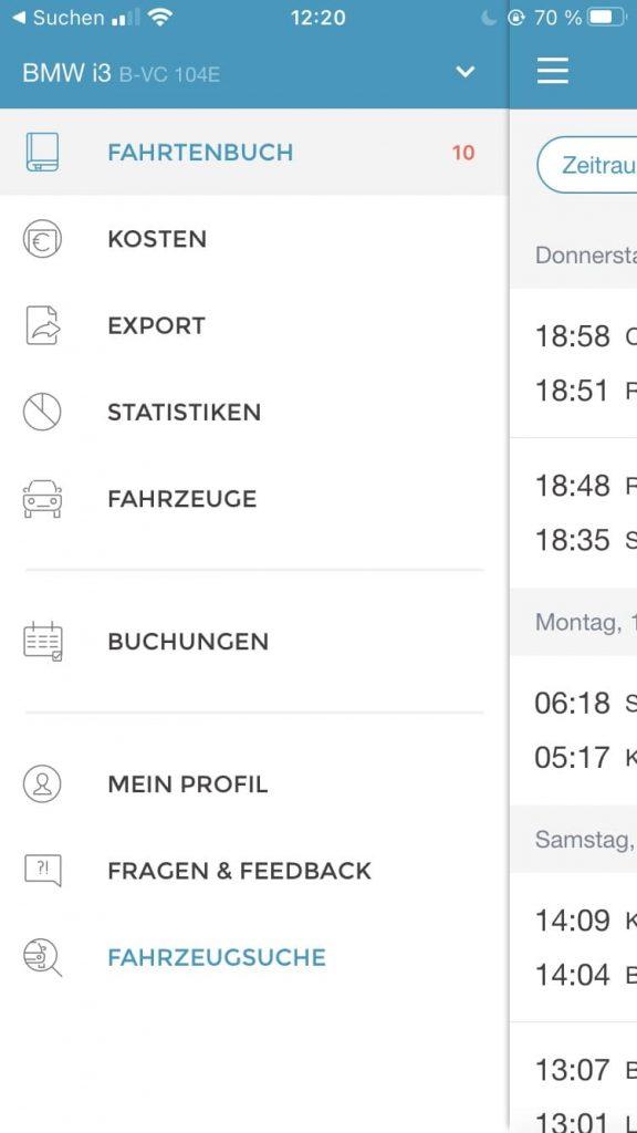 Bildschirmaufnahme der Fahrtenbuch Übersicht