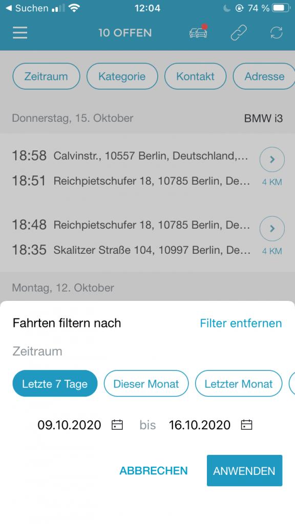 Bildschirmaufnahme der Filterkategorie Zeitraum
