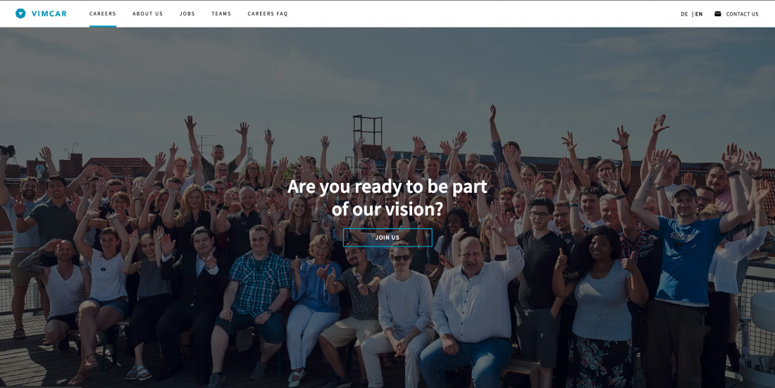 Landing Page Careers Page Vimcar