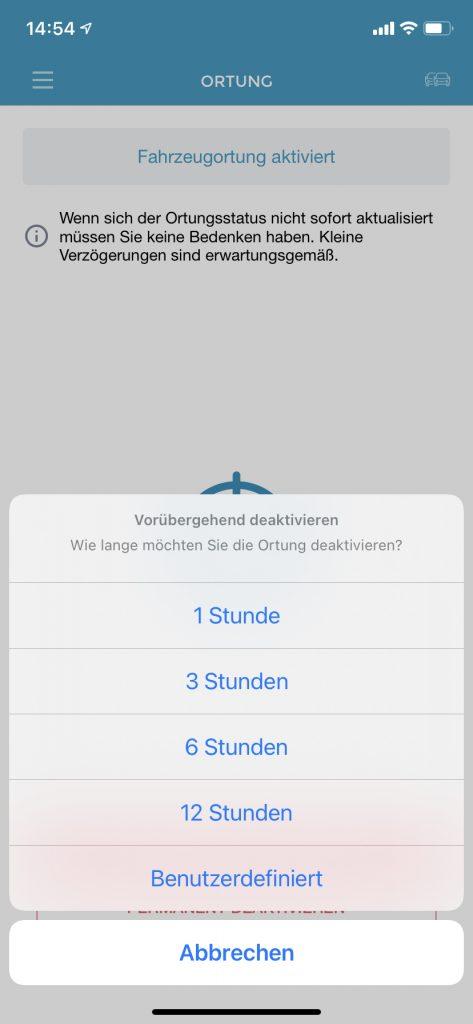 Bildschirmaufnahme: Auswahlmöglichkeiten, für welchen Zeitraum die Ortung deaktiviert werden soll.