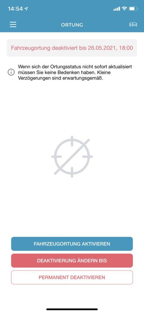 Ortung ist in der App deaktiviert.