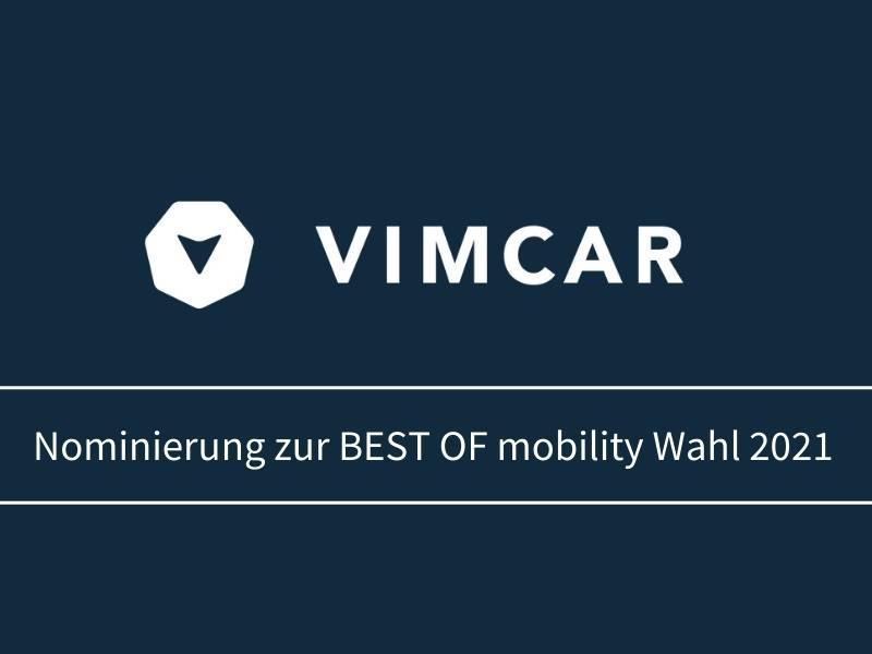 Vimcar nominiert zur Wahl Best of mobility